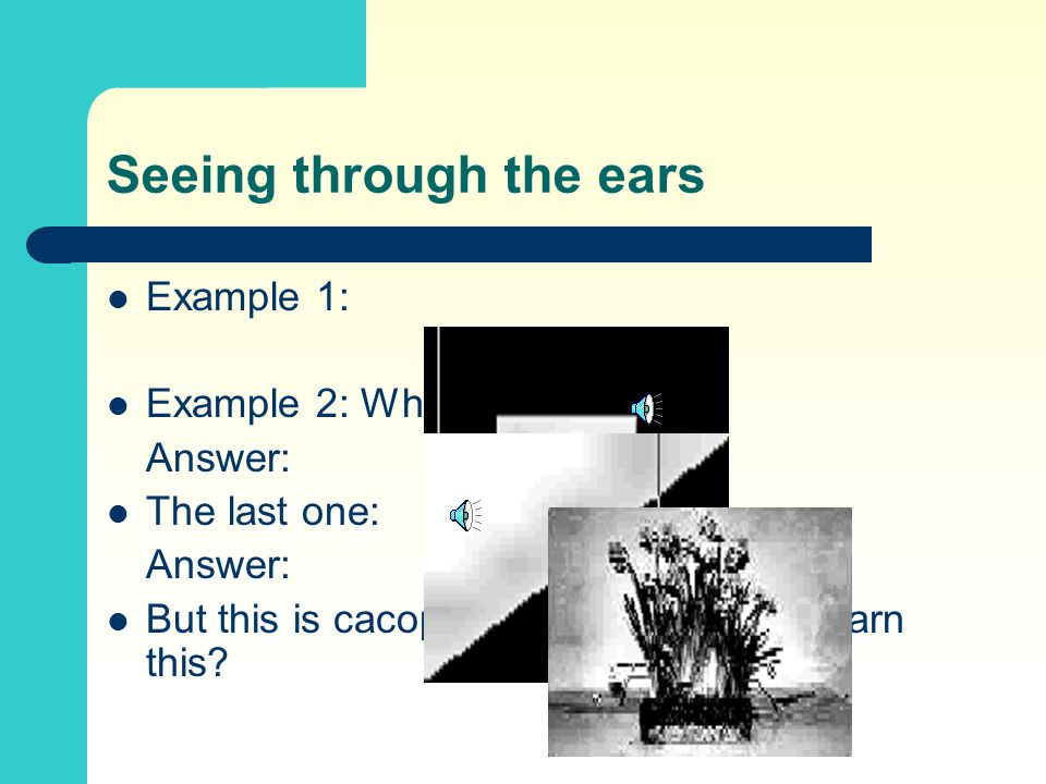 Seeing through the ears Example 1: Example 2: What is this? Answer: The last one: Answer: But this is cacophony, can one really learn this?