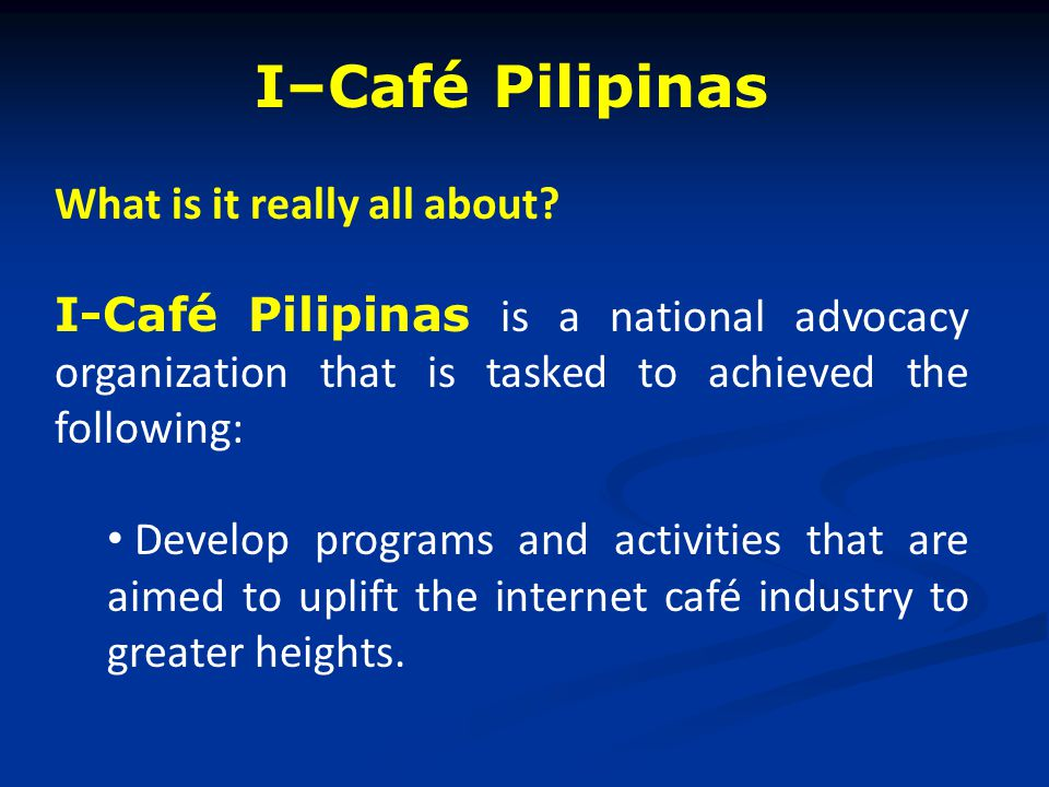 I–Café Pilipinas What is it really all about.