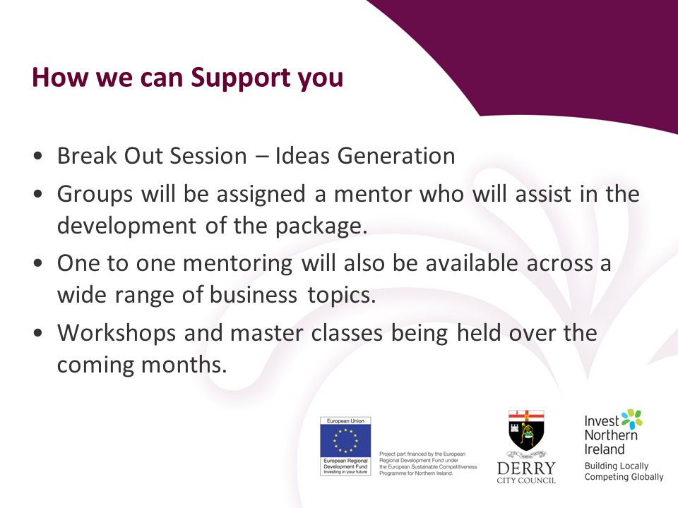 How we can Support you Break Out Session – Ideas Generation Groups will be assigned a mentor who will assist in the development of the package.