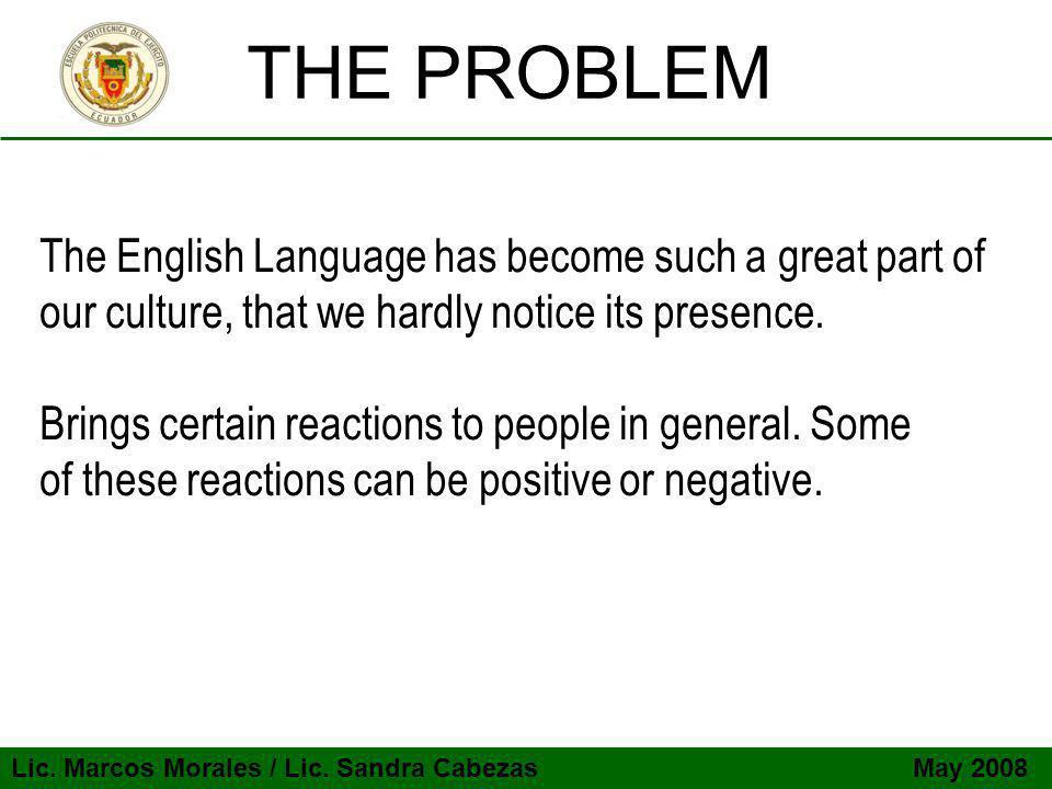 Lic.Marcos Morales / Lic. Sandra Cabezas May 2008 OBJECTIVES  Value Spanish Language.