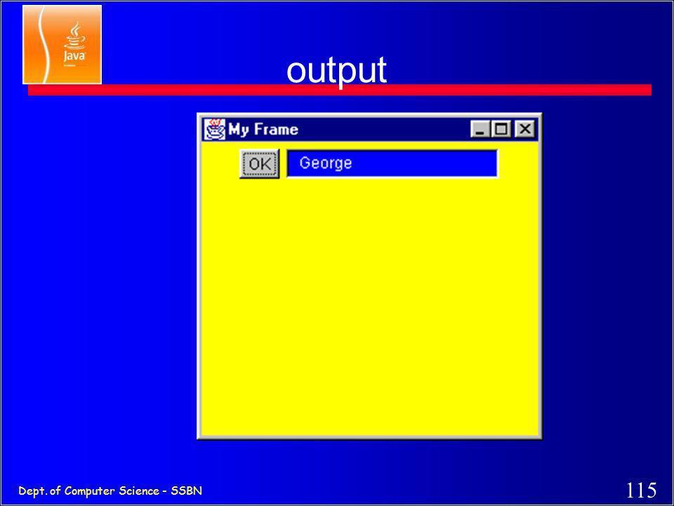 114 Dept. of Computer Science - SSBN A sample GUI program Import java.awt.*; class MyGui { public static void main(String [] s ) { Frame f = new Frame
