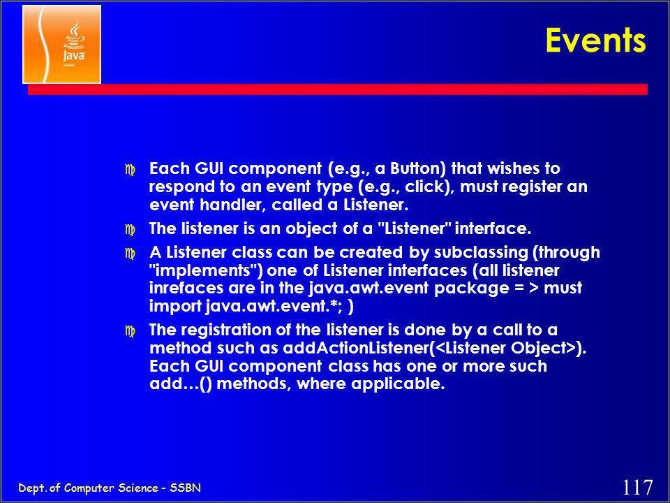 116 Dept. of Computer Science - SSBN Events b.addActionListener ( ); method to add a listenerlistener object Button f.addWindowListener ( ); Frame