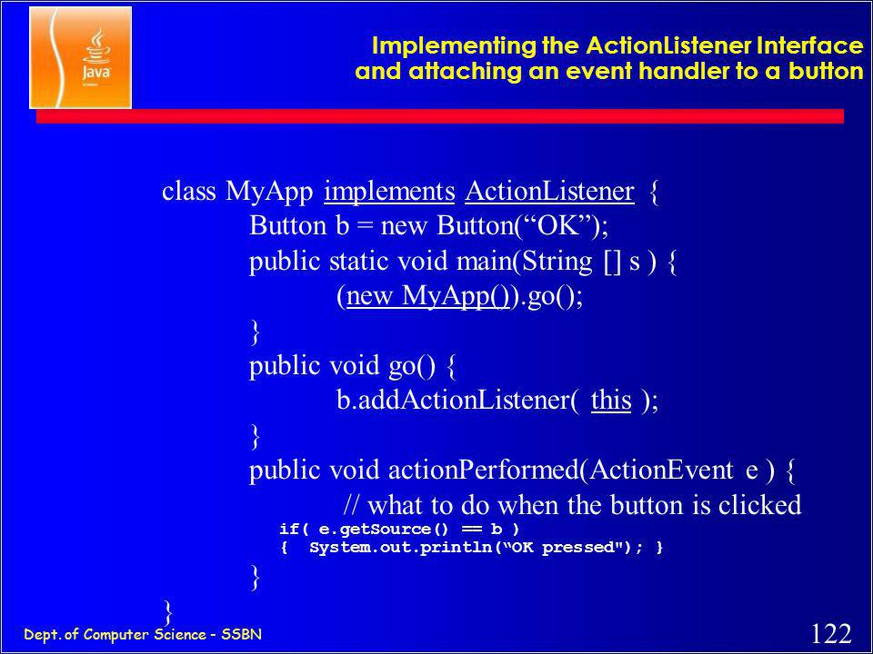 121 Dept. of Computer Science - SSBN How to create an object of a listener interface ? Interfaces cannot be instantiated. Therefore, cannot do new Win