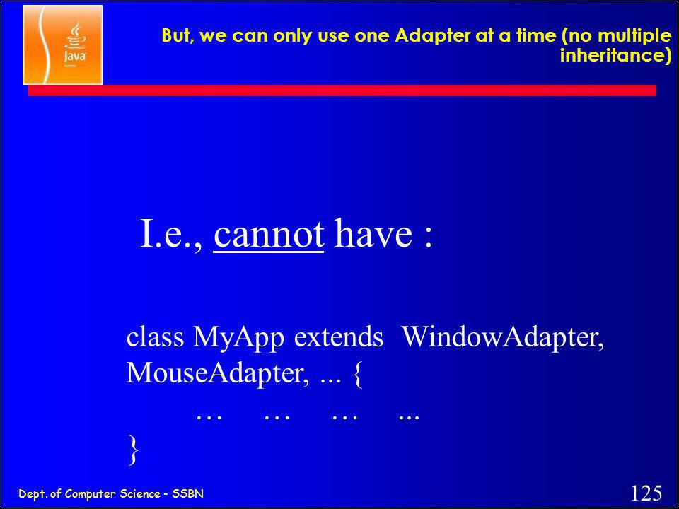 """124 Dept. of Computer Science - SSBN or … use Adapters class MyApp extends WindowAdapter { Button b = new Button(""""OK""""); Frame f = new Frame(""""My Frame"""""""