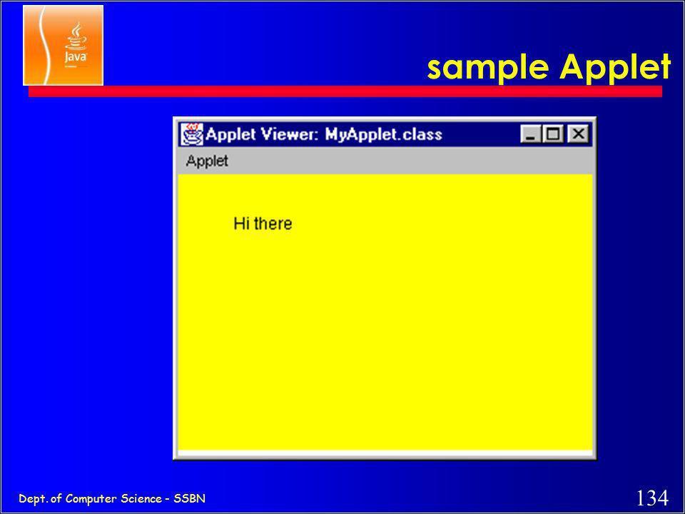 133 Dept. of Computer Science - SSBN A sample Applet // HelloApplet.java: for processing applet methods import java.awt.*; import java.applet.*; publi