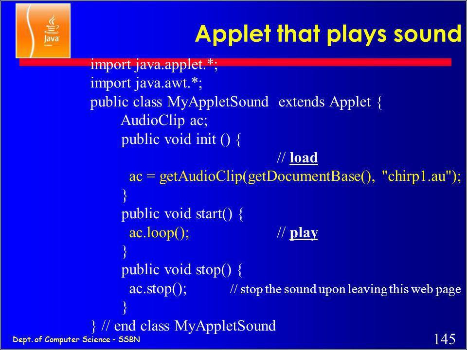 144 Dept. of Computer Science - SSBN Applet that displays image import java.applet.*; import java.awt.*; public class MyApplet1 extends Applet { Image