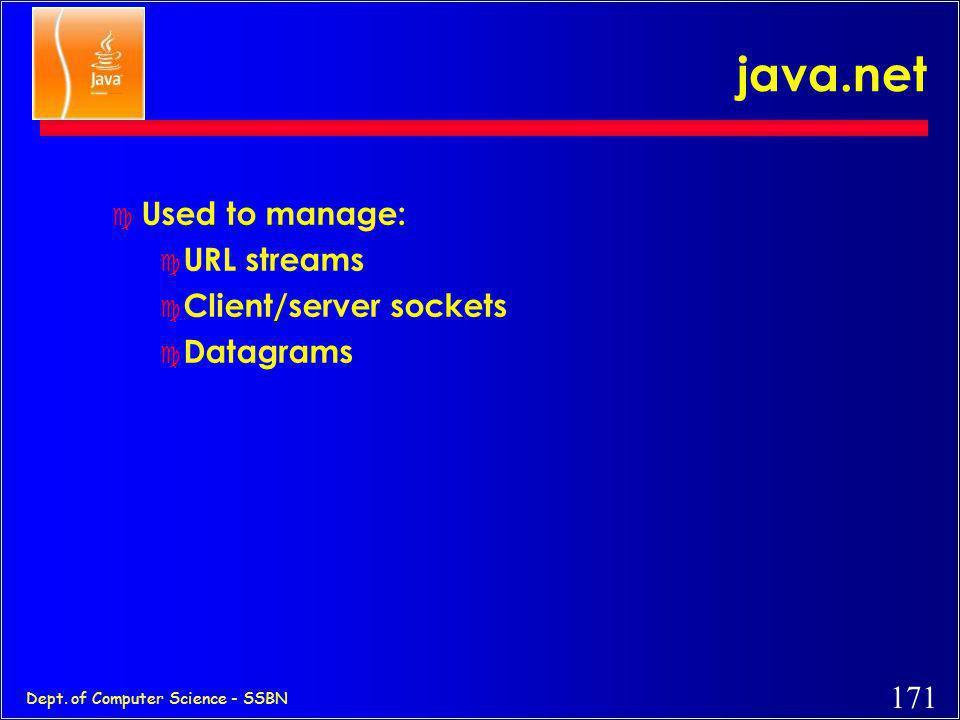 170 Dept. of Computer Science - SSBN Network/Socket Programming in Java