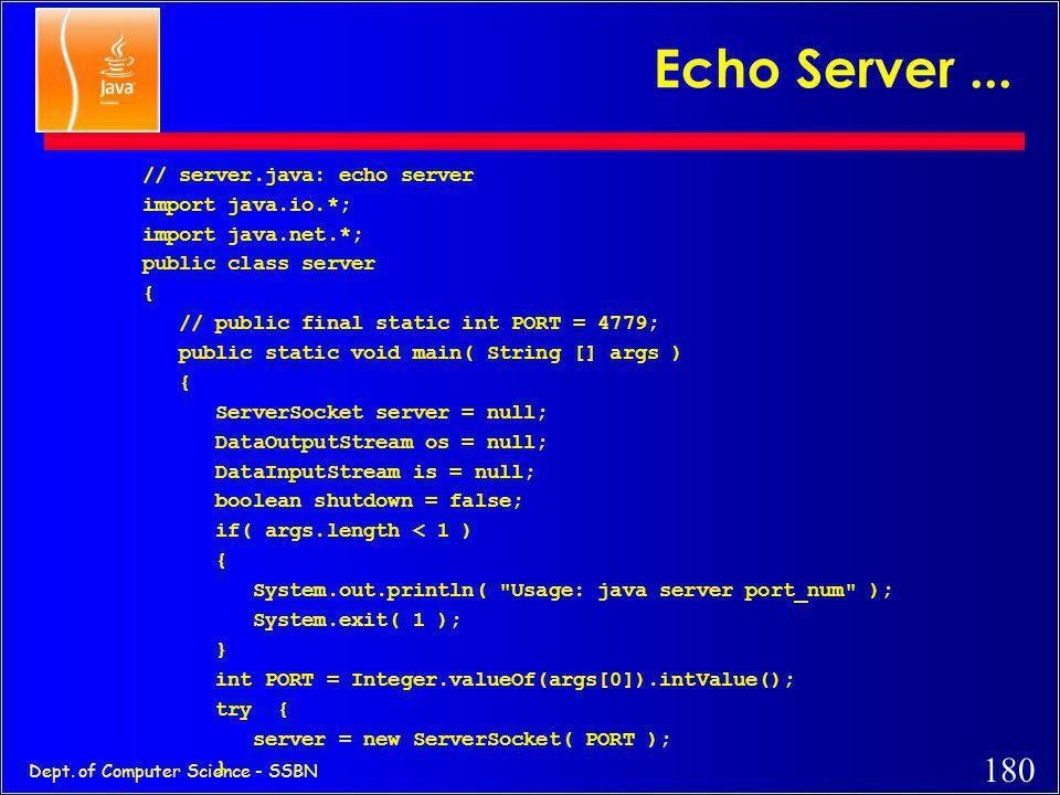 179 Dept. of Computer Science - SSBN Echo Server Client.. if( line.equals(