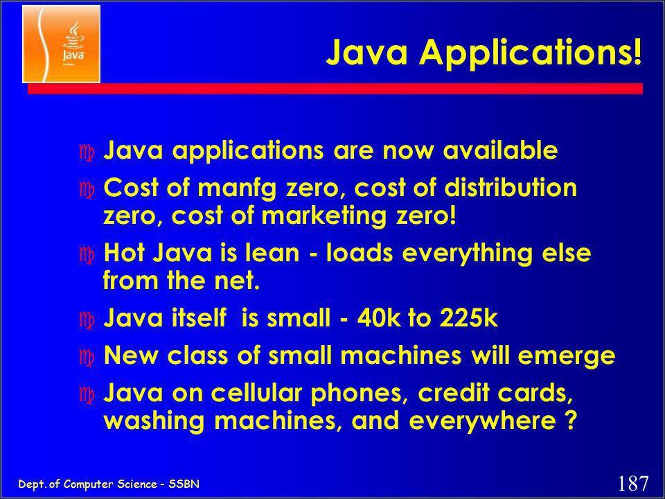 186 Dept. of Computer Science - SSBN A Look Inside the Java Platform Java Virtual Machine Porting Interface Applets and Applications Java Base API Jav