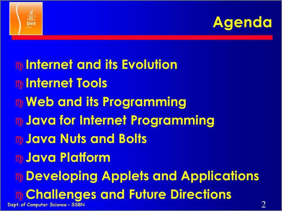 1 Dept. of Computer Science - SSBN Internet and Java Foundations, Programming and Practice Vishnuvardhan.M