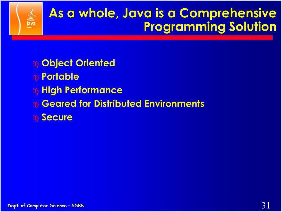 30 Dept. of Computer Science - SSBN On Closer Inspection, Java is... c Simple c Pure c Portable c Surprisingly effective