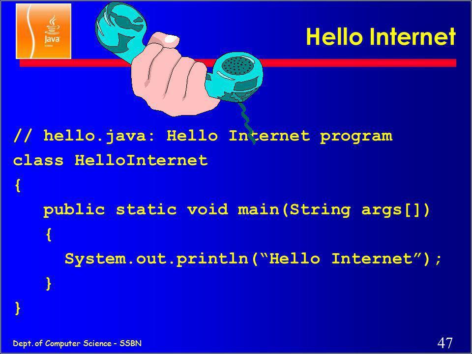 46 Dept. of Computer Science - SSBN Java Development Kit c javac - The Java Compiler c java - The Java Interpreter c jdb- The Java Debugger c appletvi