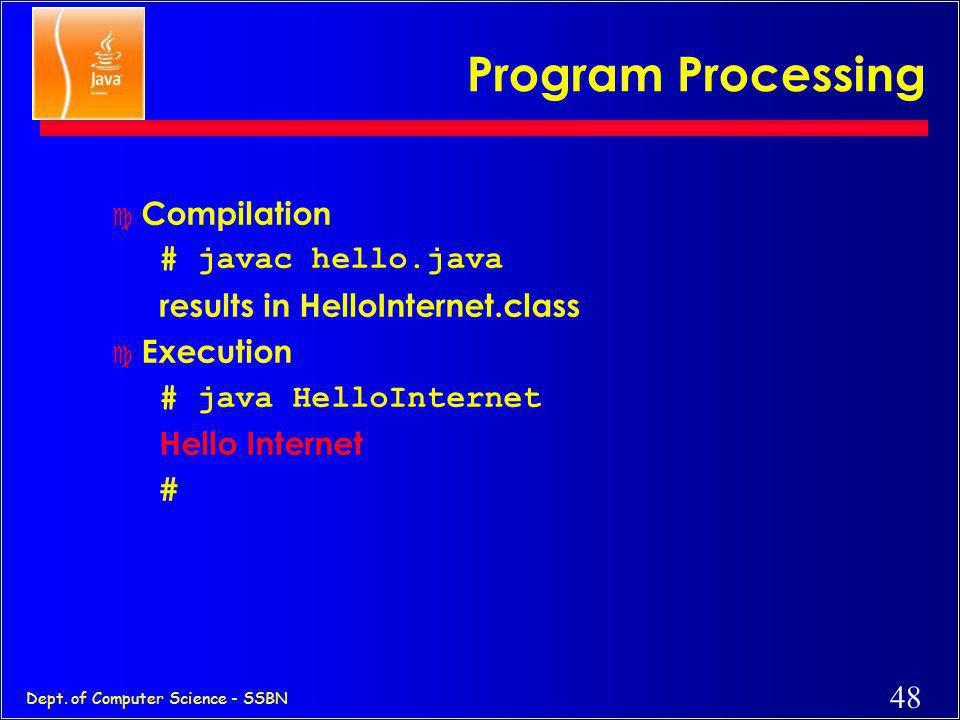 47 Dept. of Computer Science - SSBN Hello Internet // hello.java: Hello Internet program class HelloInternet { public static void main(String args[])