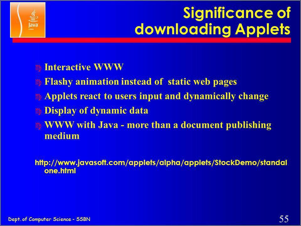 54 Dept. of Computer Science - SSBN Java Web Perspective