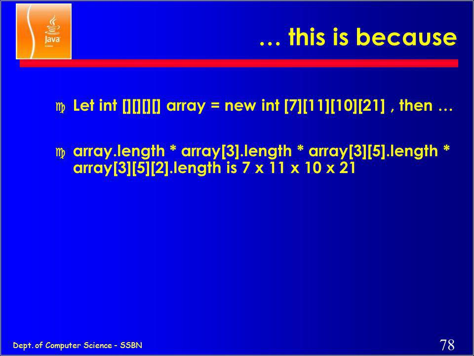 77 Dept. of Computer Science - SSBN Arrays have length c used to retrieve the size of an array –int a [ ] = new int [7]; // 1-dim System.out.println(a