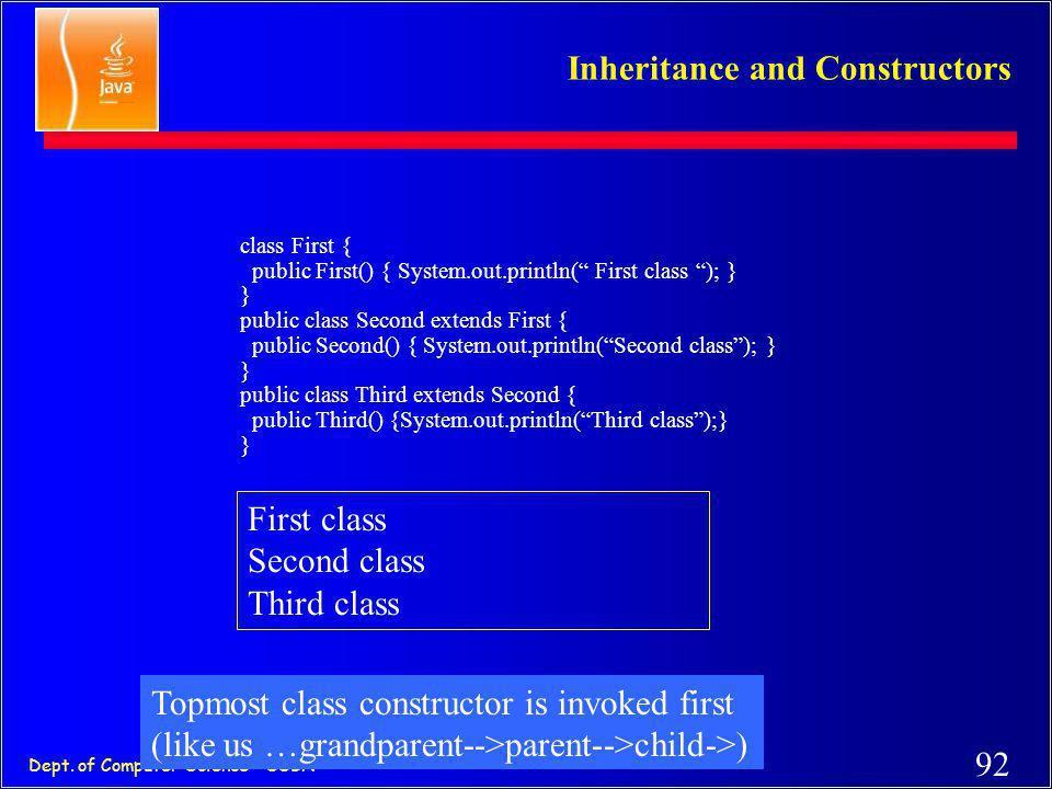 91 Dept. of Computer Science - SSBN Overriding (methods) class Manager extends Employee { private double bonus; public void setBonus(double bb) { …} p