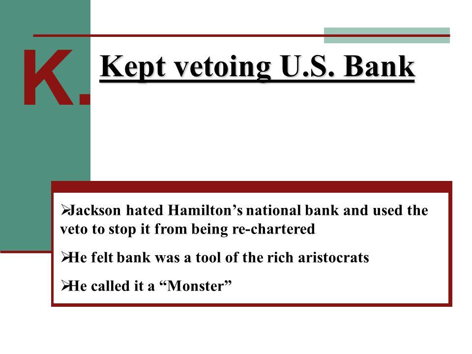 K. Kept vetoing U.S.