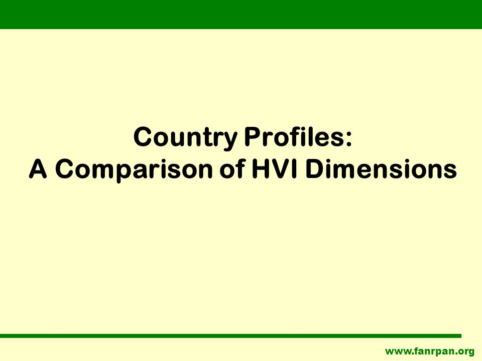 www.fanrpan.org Country Profiles: A Comparison of HVI Dimensions