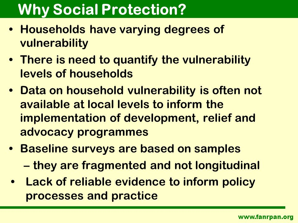 www.fanrpan.org Why Social Protection.