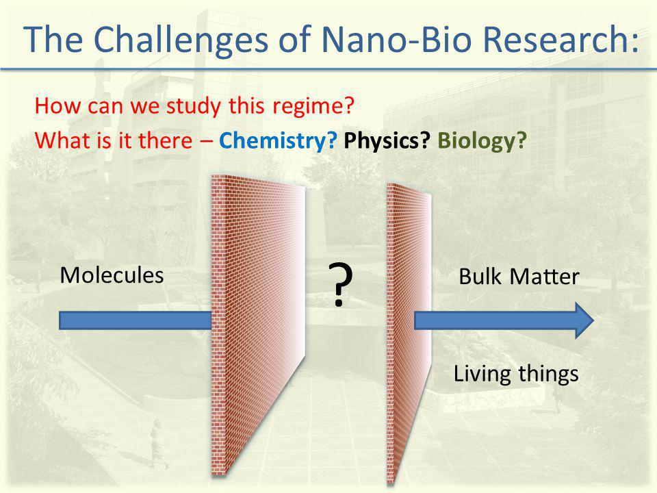 How can we study this regime. The Challenges of Nano-Bio Research: Molecules Bulk Matter .