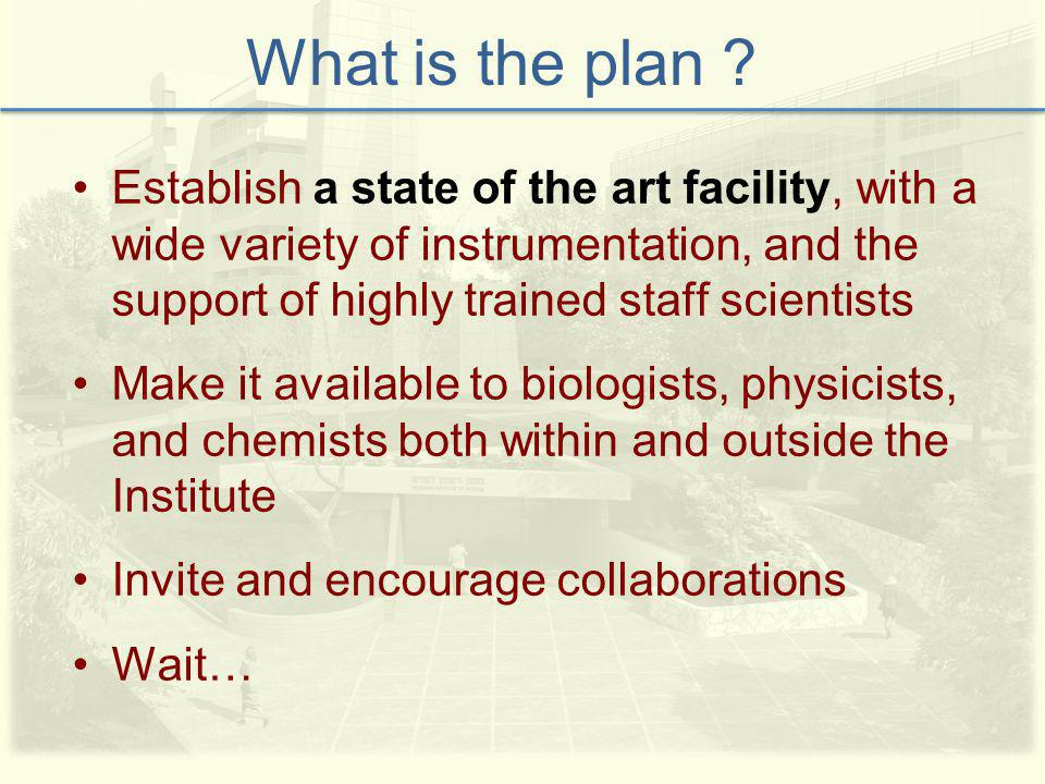 Establish a state of the art facility, with a wide variety of instrumentation, and the support of highly trained staff scientists Make it available to biologists, physicists, and chemists both within and outside the Institute Invite and encourage collaborations Wait… What is the plan