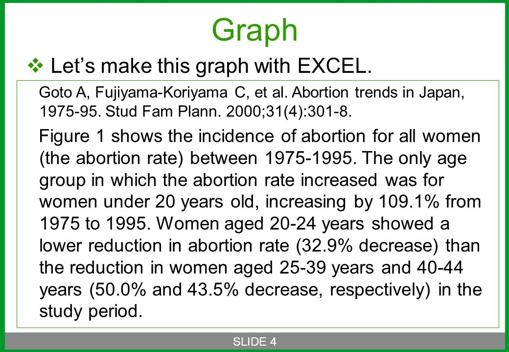  Let's make this graph with EXCEL. SLIDE 4 Goto A, Fujiyama-Koriyama C, et al.