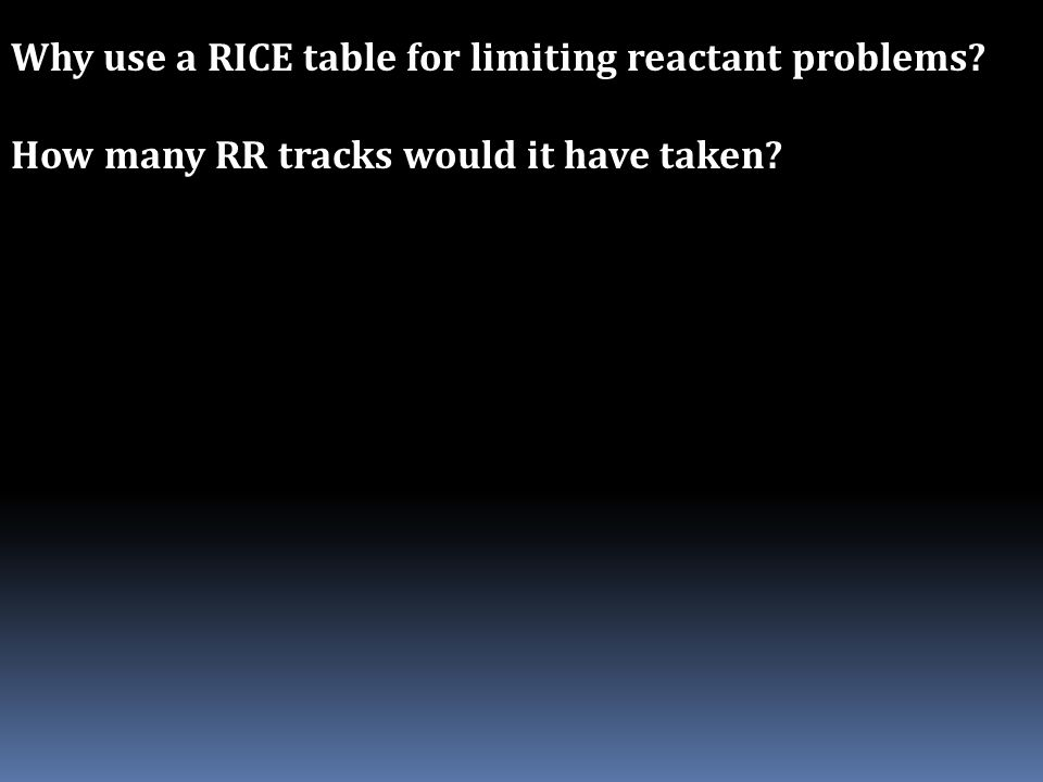 Why use a RICE table for limiting reactant problems? How many RR tracks would it have taken?