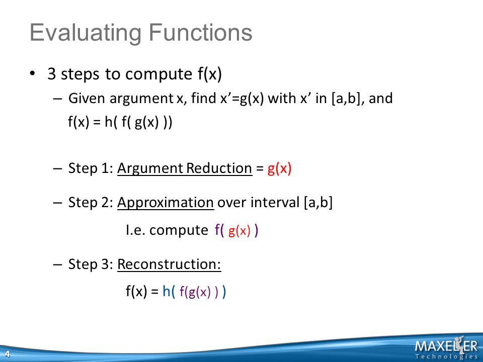 Example: sin(float x) float sin(float x){ float y = x mod (π/2); // reduction float r1 = c0*y*y+c1*y+c2; float r2 = c3*y*y+c4*y+c5; return (r1/r2); // rational approx.