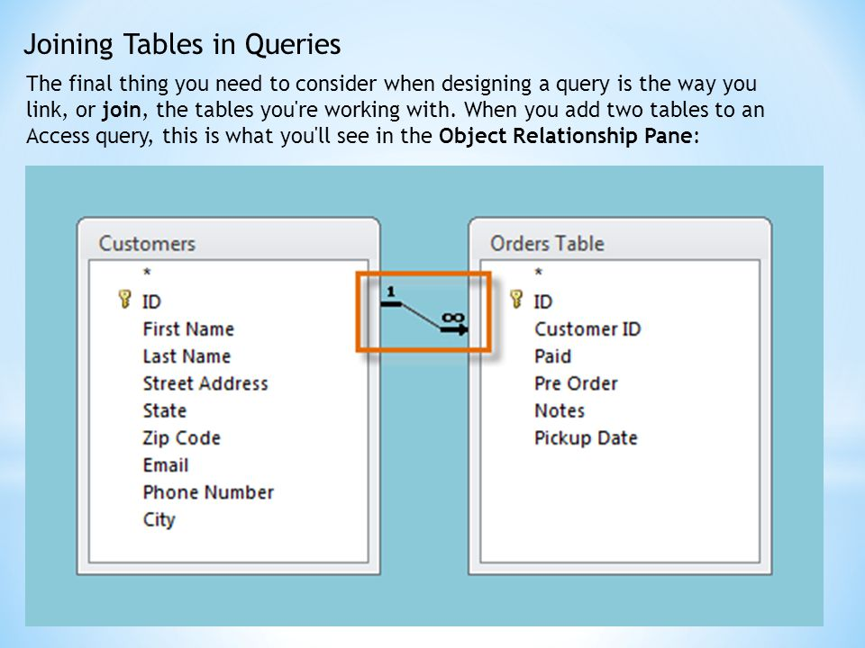 Joining Tables in Queries The final thing you need to consider when designing a query is the way you link, or join, the tables you're working with. Wh