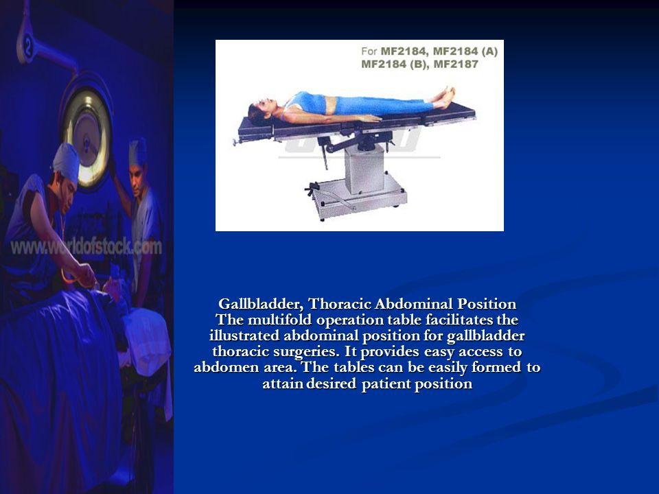 Gallbladder, Thoracic Abdominal Position The multifold operation table facilitates the illustrated abdominal position for gallbladder thoracic surgeri