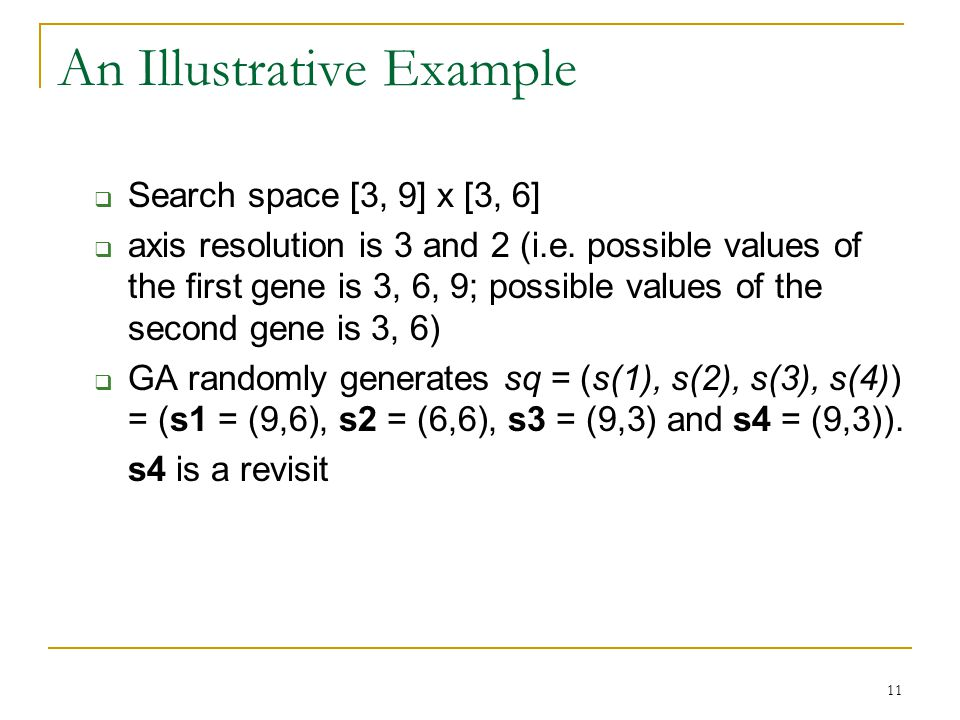 11 An Illustrative Example  Search space [3, 9] x [3, 6]  axis resolution is 3 and 2 (i.e.