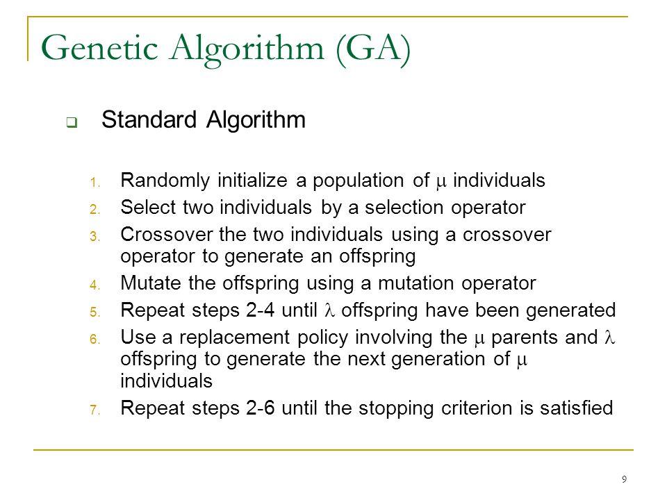9 Genetic Algorithm (GA)  Standard Algorithm 1.