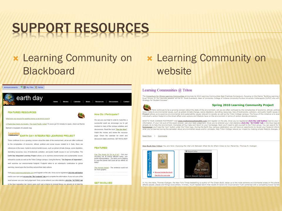  Learning Community on Blackboard  Learning Community on website