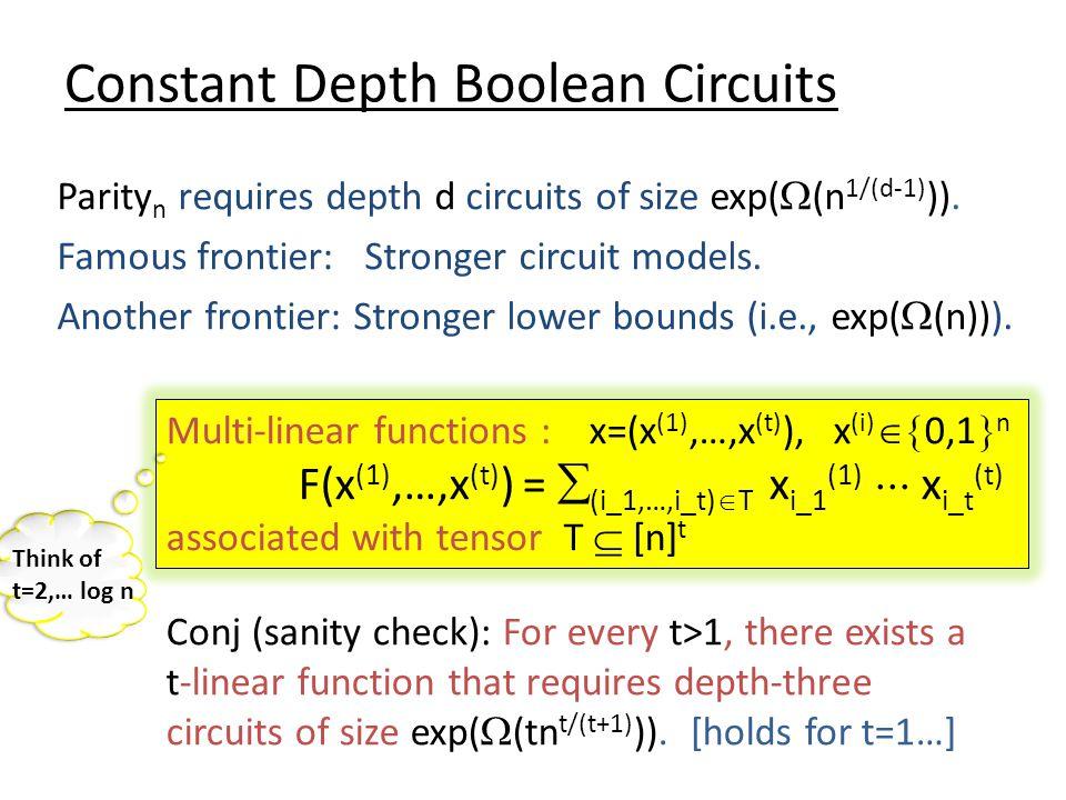 Constant Depth Boolean Circuits Parity n requires depth d circuits of size exp(  (n 1/(d-1) )).