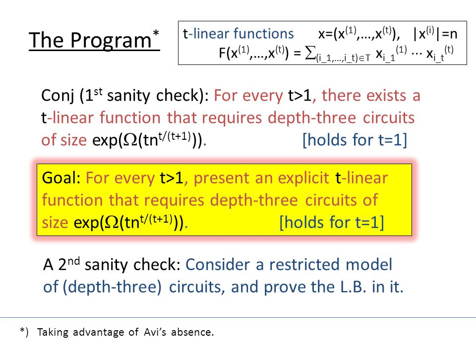 The Program * t-linear functions x=(x (1),…,x (t) ), |x (i) |=n F(x (1),…,x (t) ) =  (i_1,…,i_t)  T x i_1 (1)  x i_t (t) Conj (1 st sanity check): For every t>1, there exists a t-linear function that requires depth-three circuits of size exp(  (tn t/(t+1) )).