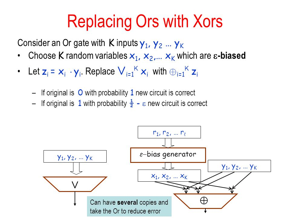 Replacing Ors with Xors Consider an Or gate with K inputs y 1, y 2 … y K Choose K random variables x 1, x 2,… x K which are  -biased Let z i = x i ¢