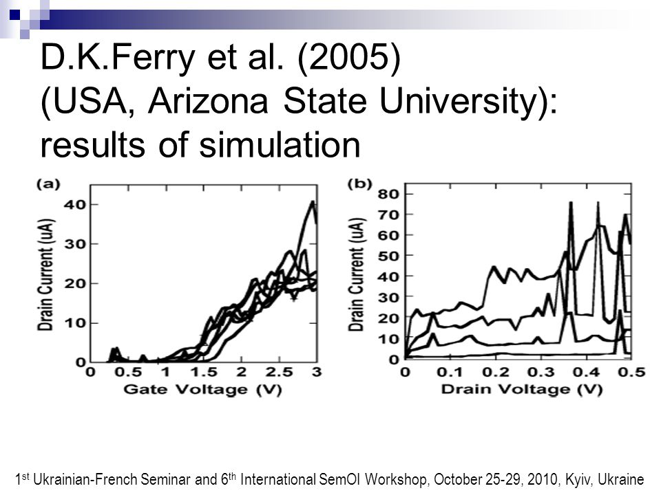 D.K.Ferry et al. (2005) (USA, Arizona State University): results of simulation 1 st Ukrainian-French Seminar and 6 th International SemOI Workshop, Oc
