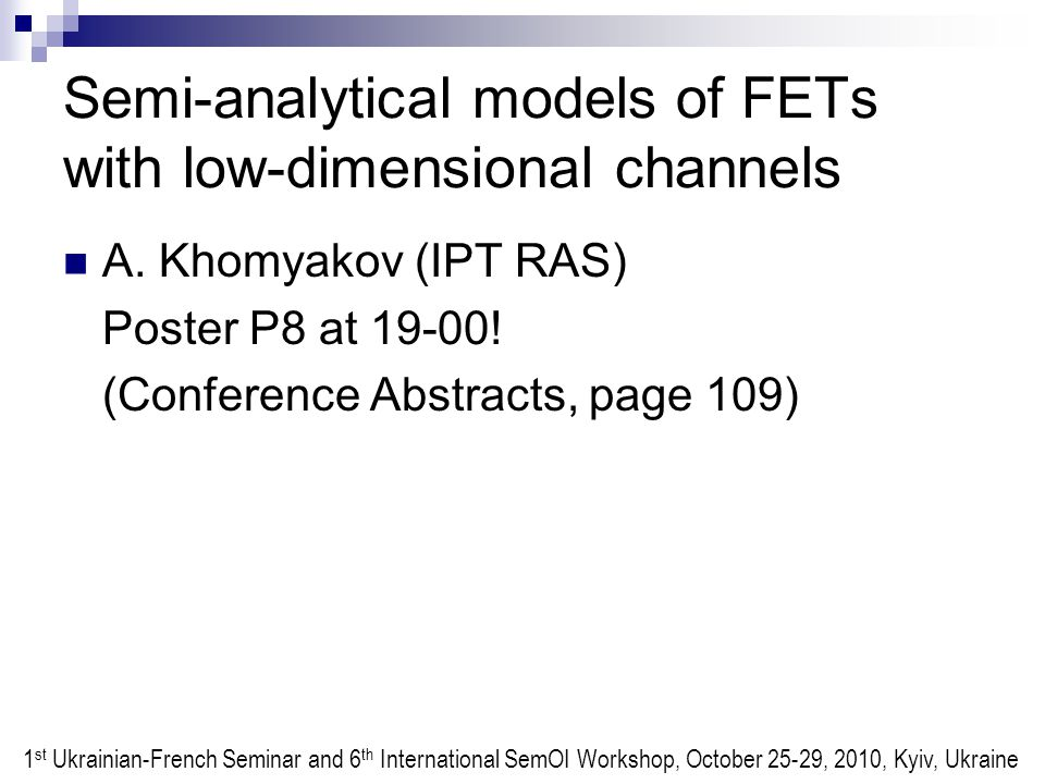 Semi-analytical models of FETs with low-dimensional channels A.