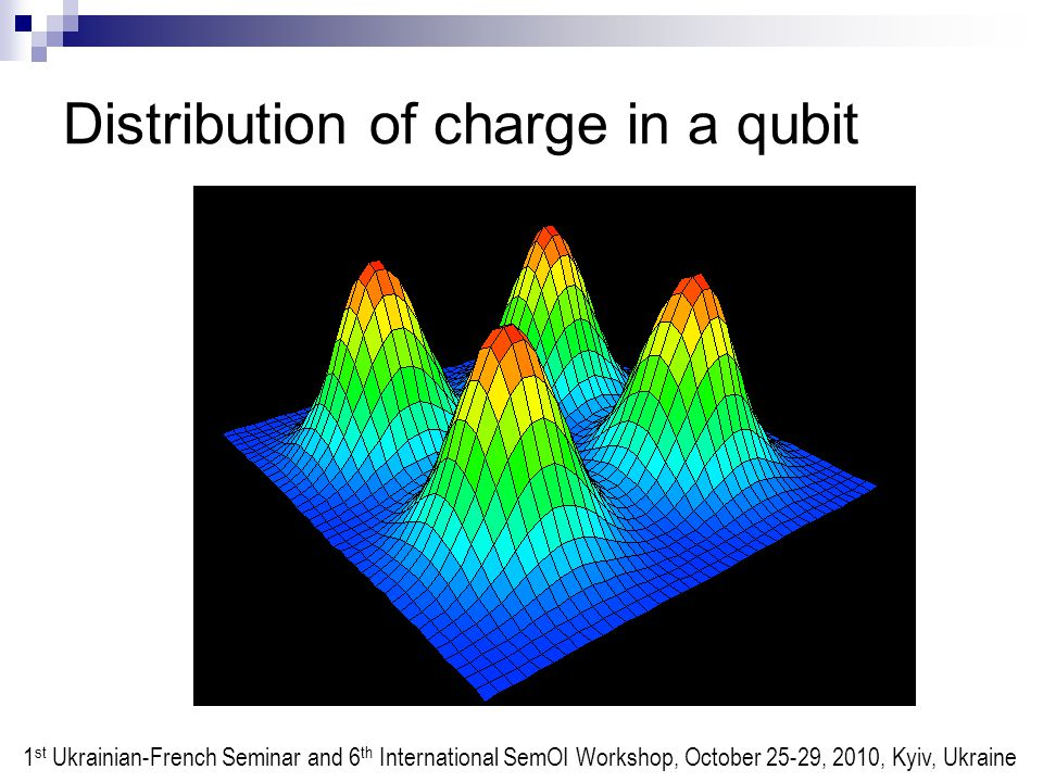 Distribution of charge in a qubit 1 st Ukrainian-French Seminar and 6 th International SemOI Workshop, October 25-29, 2010, Kyiv, Ukraine