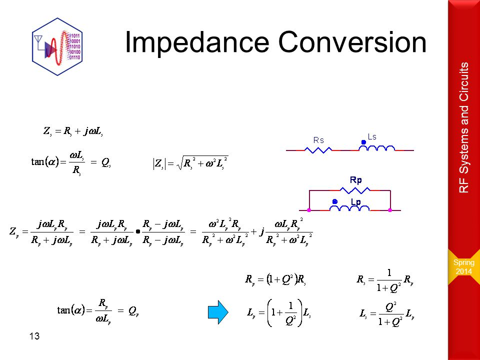 Impedance Conversion 13 Spring 2014 Spring 2014 RF Systems and Circuits