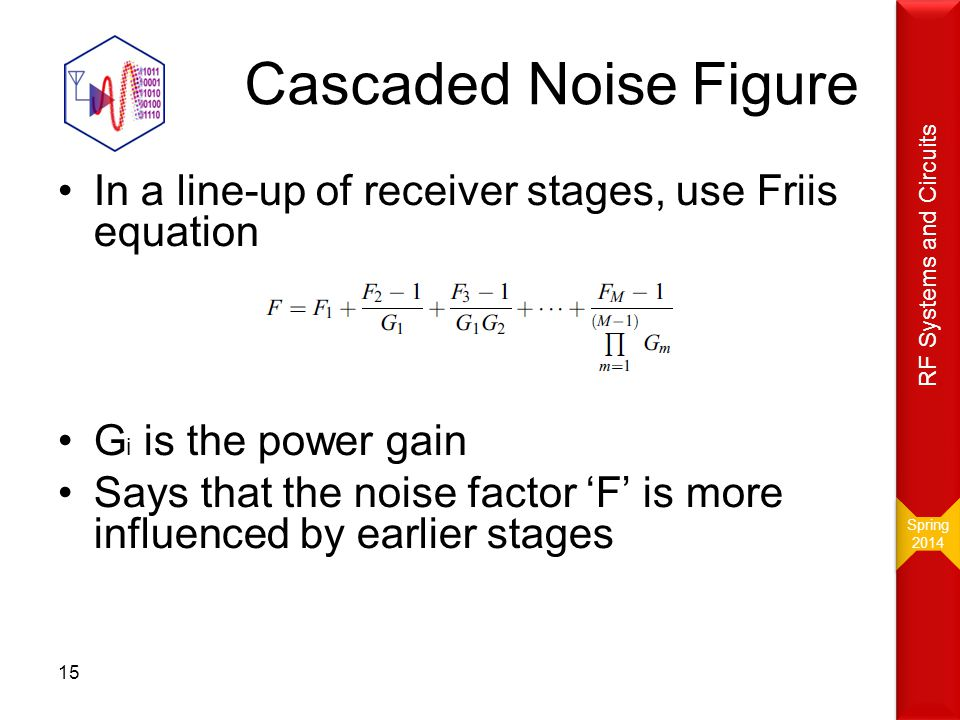 Cascaded Noise Figure In a line-up of receiver stages, use Friis equation G i is the power gain Says that the noise factor 'F' is more influenced by e