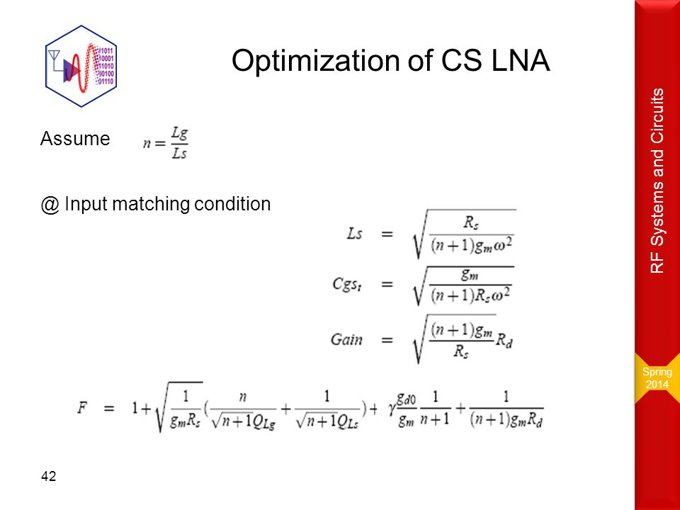 Optimization of CS LNA Assume @ Input matching condition 42 Spring 2014 Spring 2014 RF Systems and Circuits