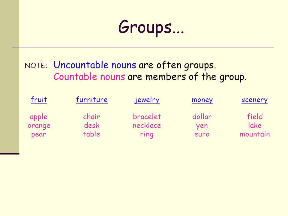 Put these nouns into groups. applebraceletchairdesk dollarfieldfruit furniture jewelrylake money mountain necklace orange pear ring scenery table yene