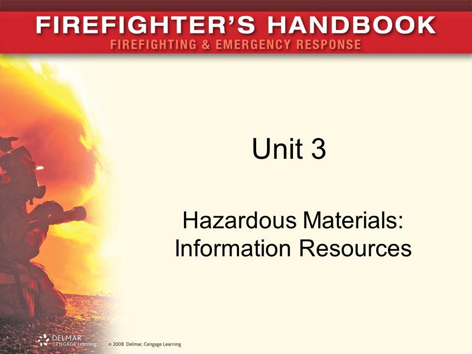 Unit 3 Hazardous Materials: Information Resources