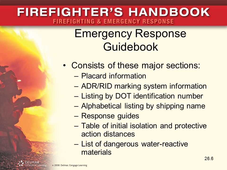 Emergency Response Guidebook Consists of these major sections: –Placard information –ADR/RID marking system information –Listing by DOT identification