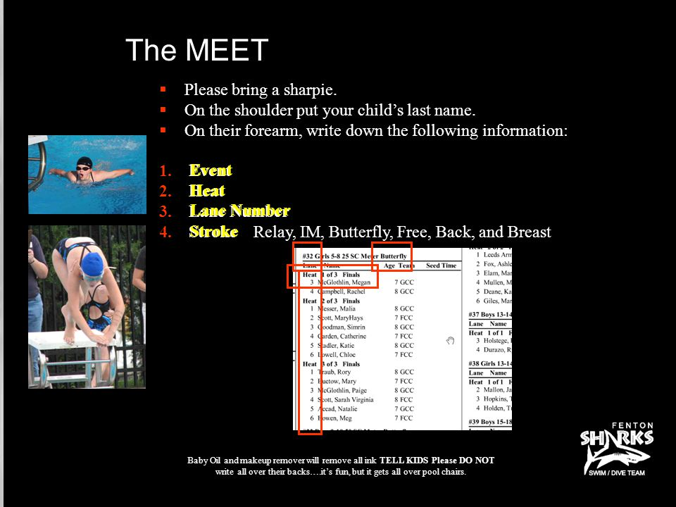 If your swimmer can't make a scheduled meet, PLEASE write their name in the I can't make that meet book.