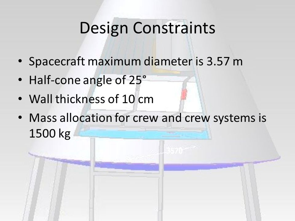Design Constraints Spacecraft maximum diameter is 3.57 m Half-cone angle of 25° Wall thickness of 10 cm Mass allocation for crew and crew systems is 1500 kg