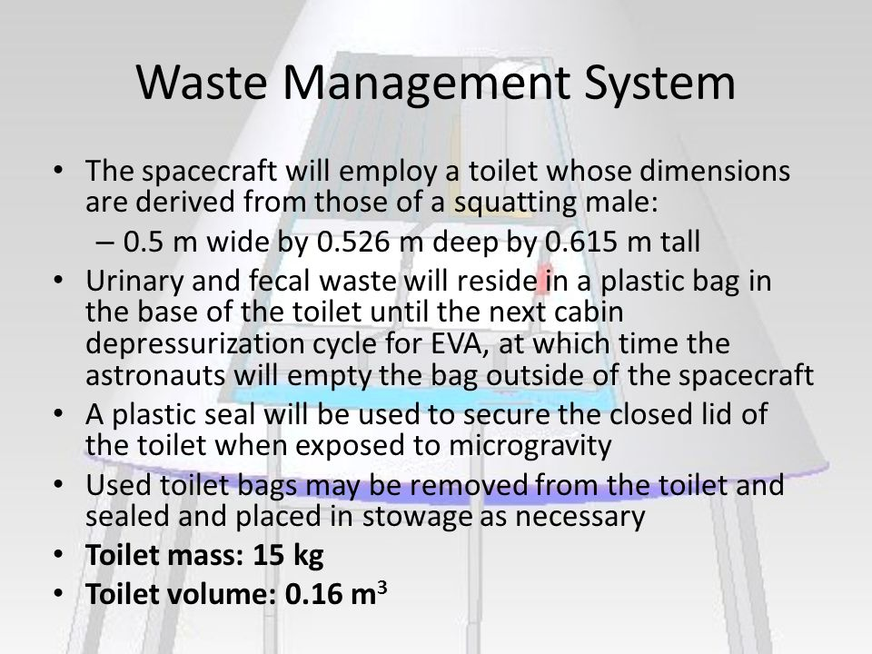 Waste Management System The spacecraft will employ a toilet whose dimensions are derived from those of a squatting male: – 0.5 m wide by 0.526 m deep by 0.615 m tall Urinary and fecal waste will reside in a plastic bag in the base of the toilet until the next cabin depressurization cycle for EVA, at which time the astronauts will empty the bag outside of the spacecraft A plastic seal will be used to secure the closed lid of the toilet when exposed to microgravity Used toilet bags may be removed from the toilet and sealed and placed in stowage as necessary Toilet mass: 15 kg Toilet volume: 0.16 m 3