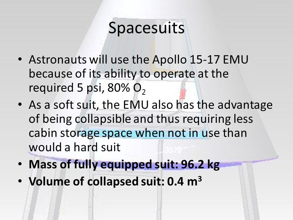Spacesuits Astronauts will use the Apollo 15-17 EMU because of its ability to operate at the required 5 psi, 80% O 2 As a soft suit, the EMU also has the advantage of being collapsible and thus requiring less cabin storage space when not in use than would a hard suit Mass of fully equipped suit: 96.2 kg Volume of collapsed suit: 0.4 m 3