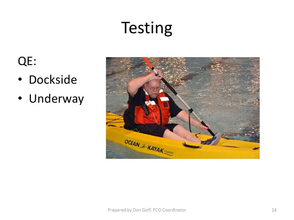 Testing QE: Dockside Underway Prepared by Don Goff, PCO Coordinator14